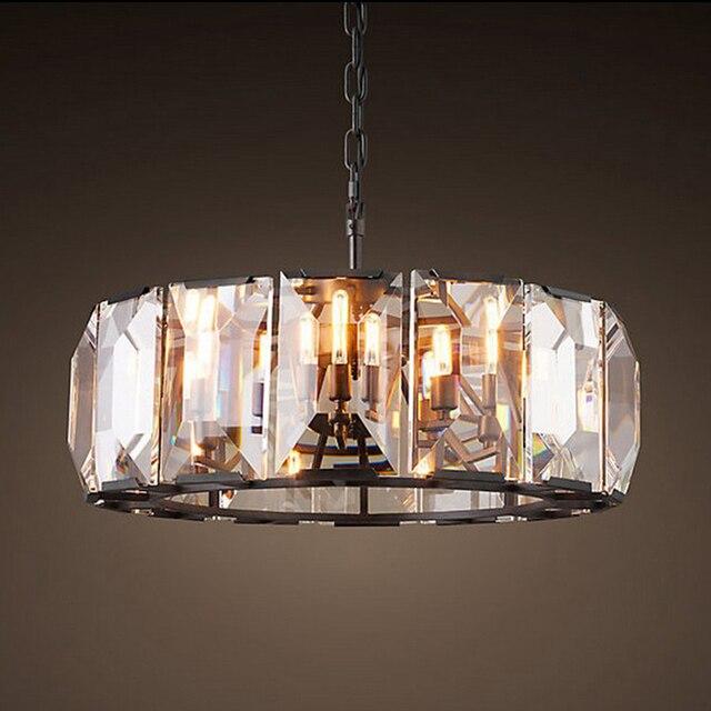 Retro American Square Crystal Pendant Light Black Iron For Dining Room Restaurant Bedroom Study Room Living Room LED E14 bulbs