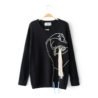 New Lady Hand Woven Rabbit Cashmere Yarn Sweater Round Neck Round Bottom Pullovers Long Sleeve Loose
