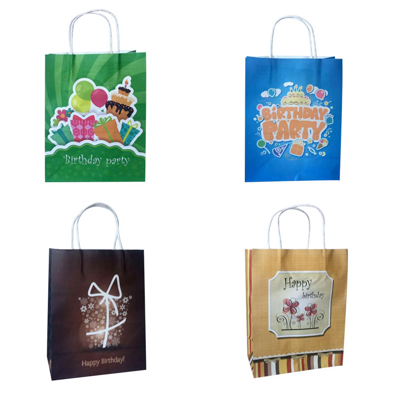 AVEBIEN 10pcs Event Party Gift Bag 27x21x11cm Children Gift Packing Birthday Favor Cake Holder Happy Birthday Party Gift Package