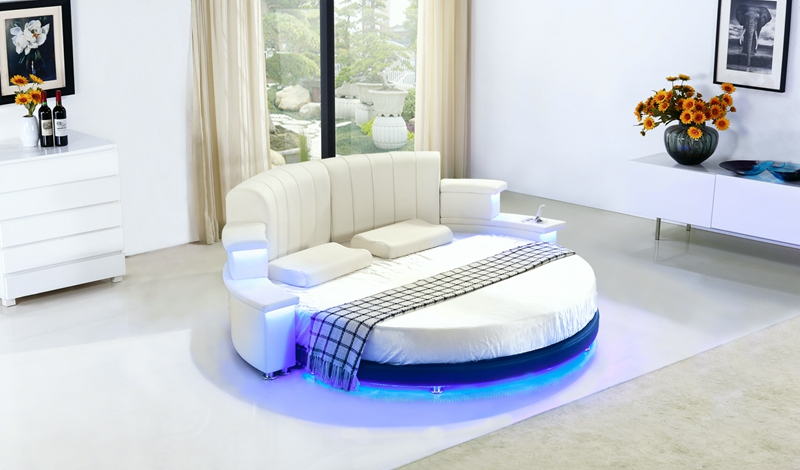 contemporary modern leather LED audio  round bed wireless remote control bedroom furniture Made in China led remote control audio contemporary modern leather sleeping bed king size bedroom furniture made in china