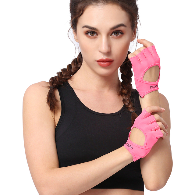 Women's Solid Pink Gym Gloves