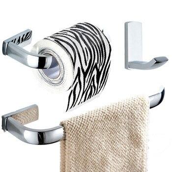 Leyden 3pcs Chrome Brass Towel Ring Holder Toilet Paper Holder Tissue Holder ClothesTowel Hook Hanger Bathroom Accessories Set