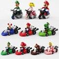 10 unids/set Nueva Lindo Super Mario Bros Kart tira Del Coche Motocicleta PVC Figuras de Acción Juguetes Brithday Regalo Para Los Niños