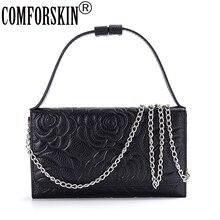 COMFORSKIN New Arrival Premium 100% Genuine Leather Fashion Rose Feminine Messenger Bag High Quality Real Handbag 2018