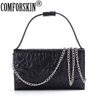 COMFORSKIN New Arrival Premium 100 Genuine Leather Fashion Rose Feminine Messenger Bag High Quality Real Leather