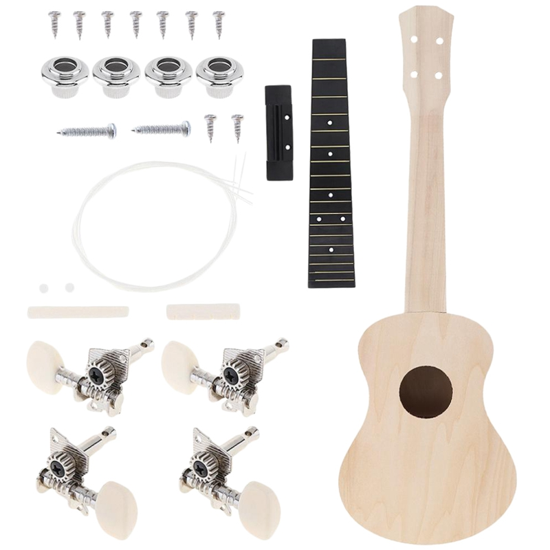 Kids Concert Ukulele Diy Kit 23 Inch Basswood 4 Strings Hawaiian Guitar For Handwork Painting Perfect Parents-Child Campaign