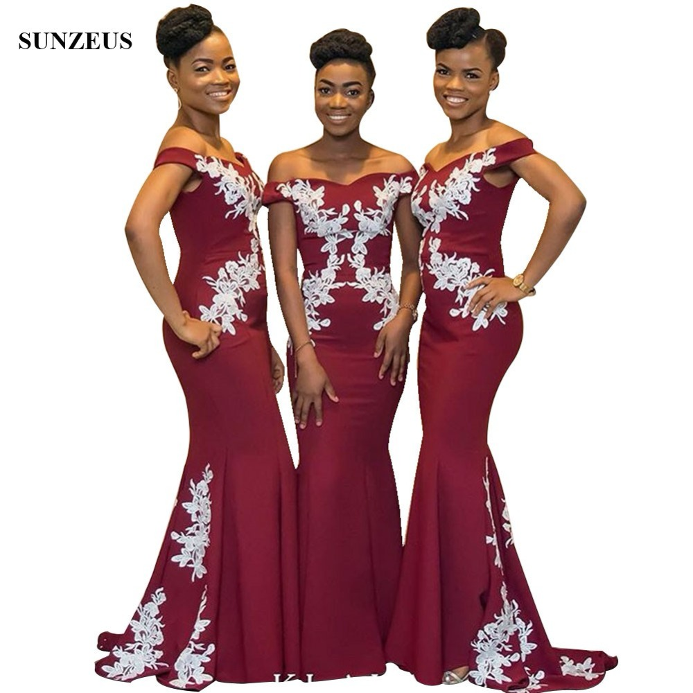 2018 New Mermaid Burgundy   Bridesmaid     Dresses   With White Appliques Off Shoulder Long Women Party Gowns African Wedding
