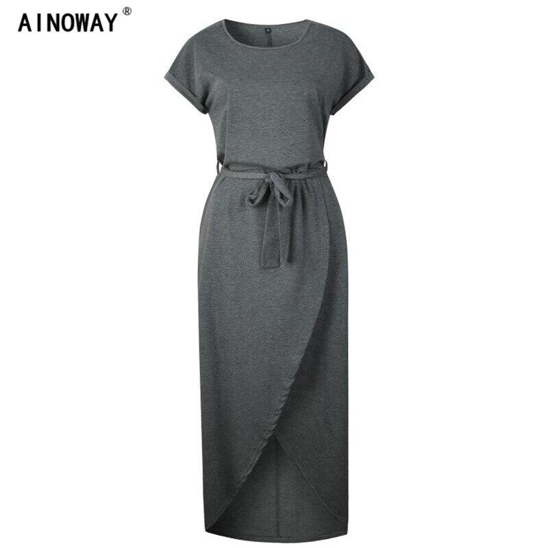 Oversize XS-3XL Women Solid color Long Dress Female O Neck Front fork irregular Short Sleeve Pleated Dress Summer Woman