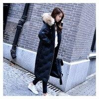Элегантный и благородный известный бренд зима новый длинный пуховик женский тесьма волосы большой меховой воротник толстый с капюшоном Же
