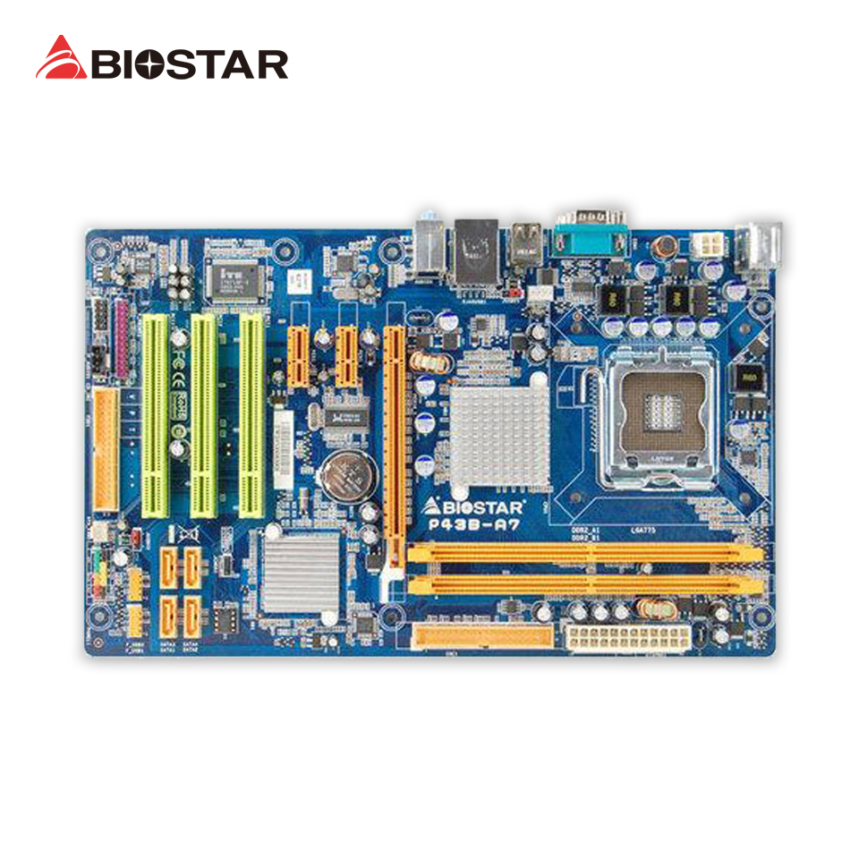 BIOSTAR P43B-A7 Original Used Desktop Motherboard P43 LGA 775 DDR2 SATA2 USB2.0 ATX used original for biostar hi fi a85s2 fm2 motherboard for amd a85 usb3 0 sata3 motherboard