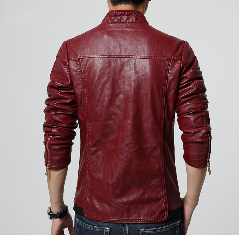 Mens Leather Jacket 2017 Autumn Winter Slim Fit Faux Leather ...