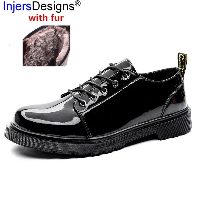 black Nouvelle up Fourrure Chaussures Ou Dentelle Cuir D'affaires Chaud Mode De Respirant Hommes Verni Black Fur Robe Arrivée En Richelieus Zapatos Hombre qrqPR