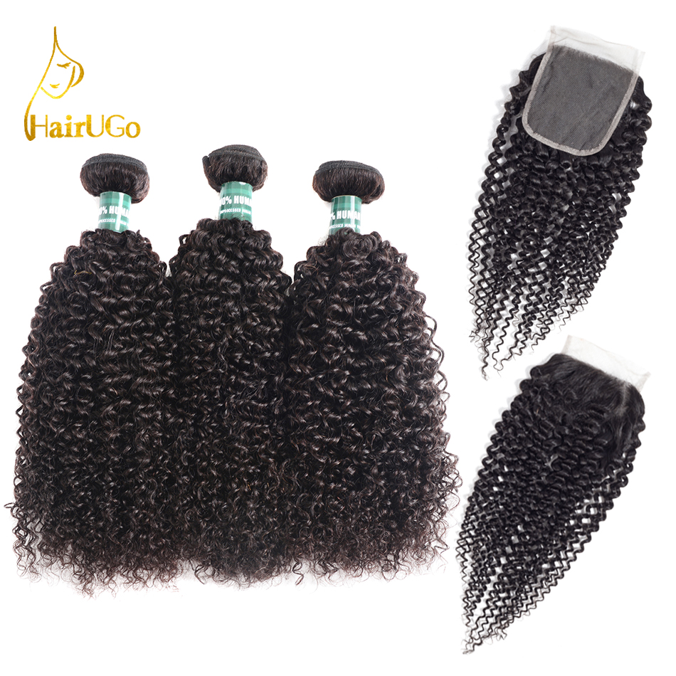 HairUGo Hair Mongolian Kinky Curly Hair Bundles With Closure Non Remy Human Hair Bundles With Closure
