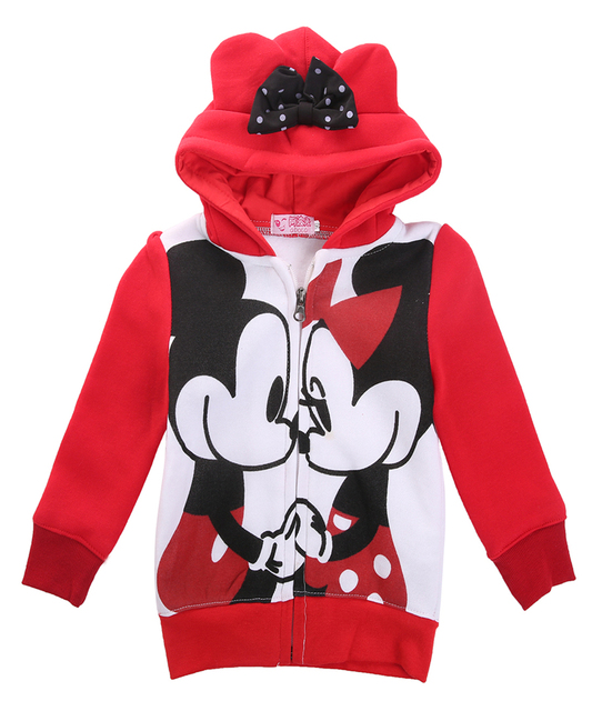 b772b3a05 2016 children Minnie mouse outerwear autumn Hooded coats Jacket Kids Coat  autumn with baby Girls bowknot 1-6years