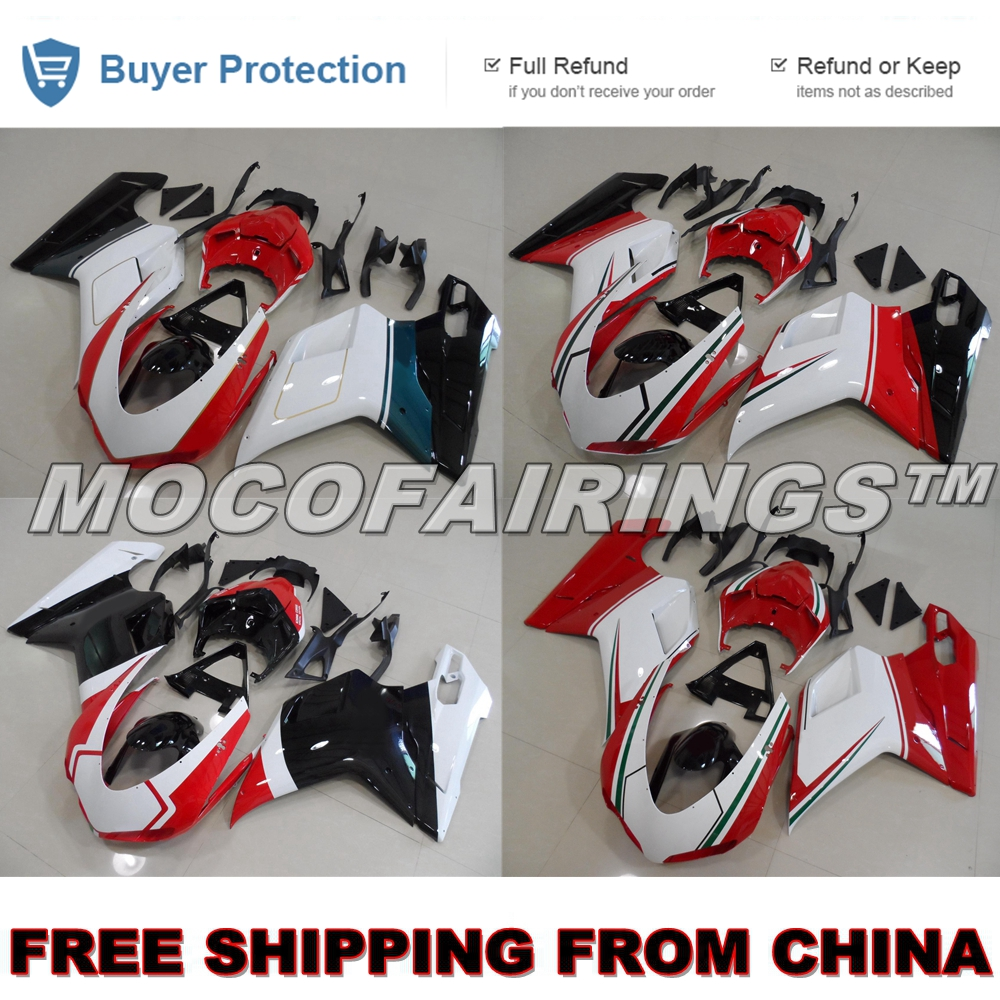 FREE SHIPPING Motorcycle ABS Plastic Fairing Kit For Ducati CORSE 1098 1198 848 S / R / EVO Fairings Bodywork TRI COLOR