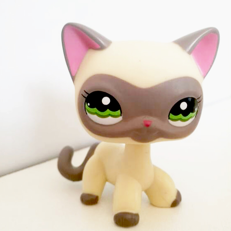 Real Pet Shop Cute Toys Short Hair Cat #1116 Yellow Cream Gray Masked Kitty Old Rare Toys Figure Original