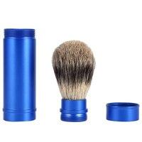 Professional Men Badger Hair Shaving Brush Blue Aluminum Alloy Handle Facial Beard Cleaning Razor Brush Travel