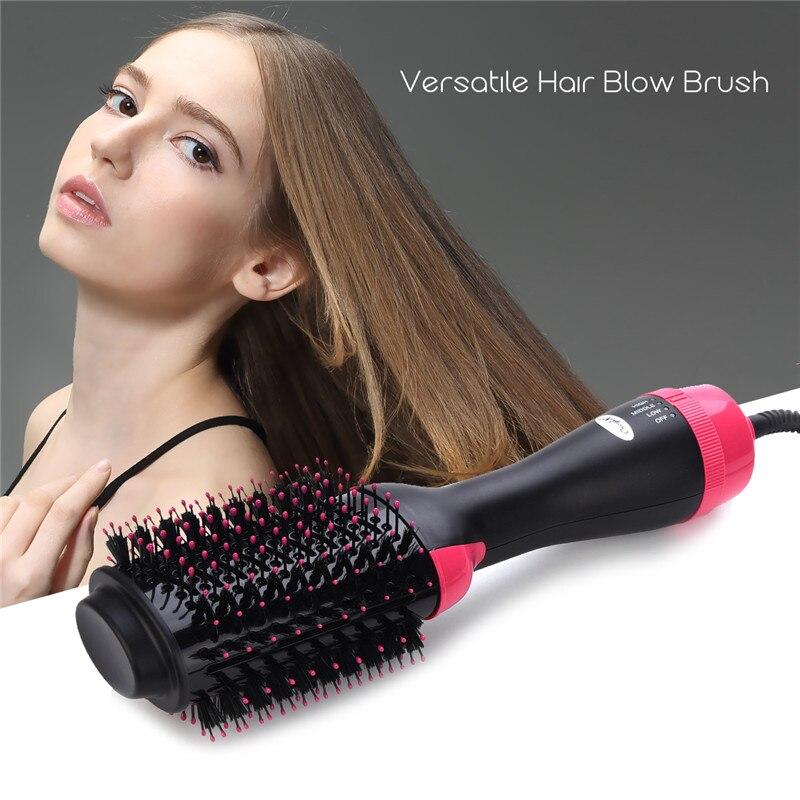 Un paso secador de pelo y volumen para el salón peluquero de aire caliente Paddle cepillo generador de iones negativos plancha de pelo rizador de Peine