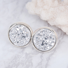 Doreen Box Copper Ear Post Stud Earrings Round Silver color Silver W/ Stoppers 16mm x 14mm,1 Pair 2017 new