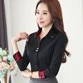 Отложным воротником Осень носить длинные рукава женщины черный блузка женский повседневный стиль элегантной моды тонкий верхняя одежда