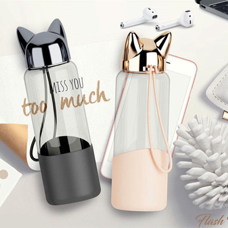 350 ML creativo Flash Fox botella de agua con cuerda Linda dibujos animados portátil al aire libre mujeres botellas de vidrio cubierta de aislamiento