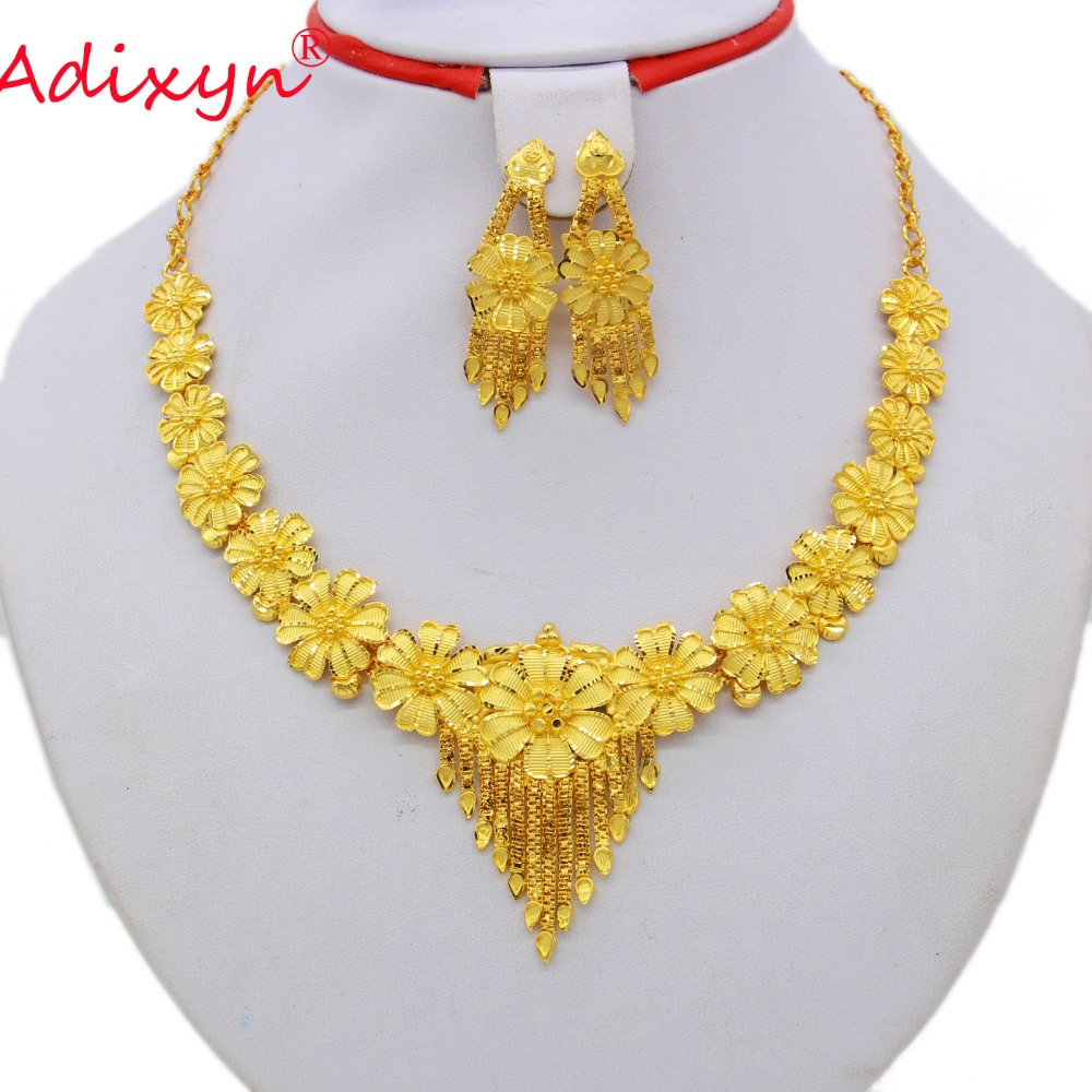Adixyn Mix India 43cm/17inch Chokers Chain/Earrings Jewelry Set For Women Gold Color African/Ethiopian Party N08099 цена