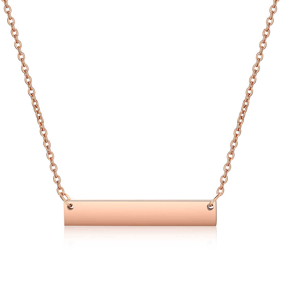Hot Fashion Blank Bar Pendant Necklace, Rose Gold Necklace, Custom Stainless Steel Personalized Women Gift Choker Jewelry