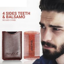 4 sides Beard Comb Trimmer Shaping Tool Red Sandalwood Portable Man Care