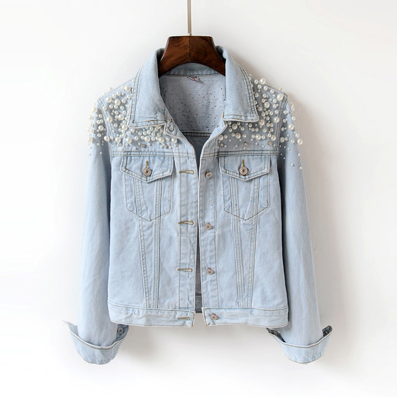 2018 Spring Autumn Women   Basic   Coats Women Denim   Jacket   Pearls Beading Fashion Jeans Coat Casual Long Sleeve   Jackets   1846