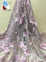 3d fabric flowers onion lace fabric french lace with beads high quality luxury dress fabric for wedding 5yard/lot x4