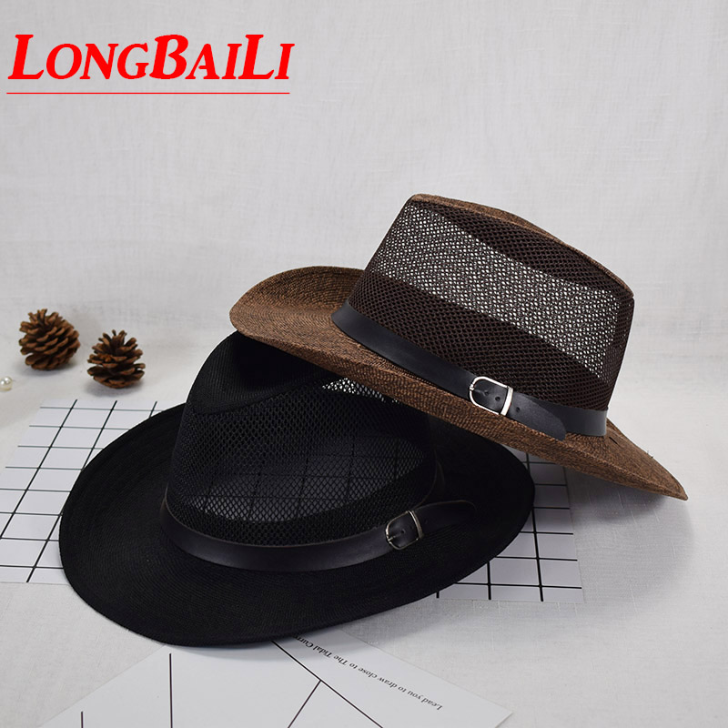 Summer Straw Sun Beach Hats For Men Wide Brim Cowboy Hats Sunbonnet  Free Shipping CSDS010 broad paracord