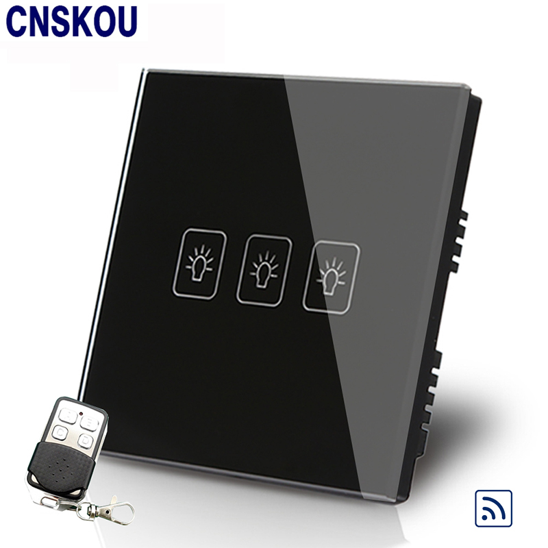 Cnskou Manufacturer UK 3Gang1Way Remote Control Touch Switch  AC110V~250V Black Crystal Glass Panel with LED Indicator manufacturer smart home white crystal glass panel us au wall light touch switch 2 gang 1 way power 110 250v with led indicator