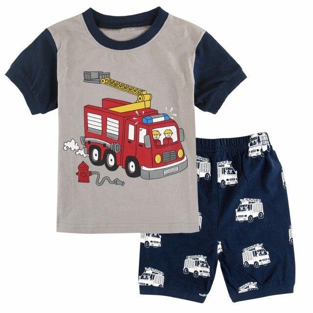 Conjunto Pijama Niño De Ropa Niños Pijamas Bomberos Camión Verano wInR8aqz