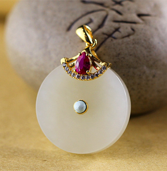 S925 sterling silver jewelry fashion ladies natural and nephrite Pendant with certificate jewelry free shipping цена