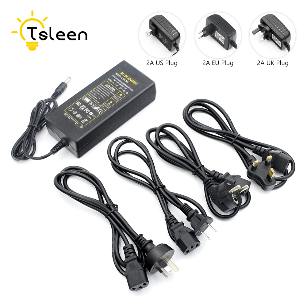 TSLEEN DC 12V AC100-240V Converter Adapter 5A Power Adapter Supply For 5050 LED Rigid Strip Lighting CCTV Camera With Cable