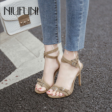 Fashion Stiletto Roman Shoes 2019 Womens Sandals New Arrival Belt Buckle High Heels Casual Suede Summer Footwear