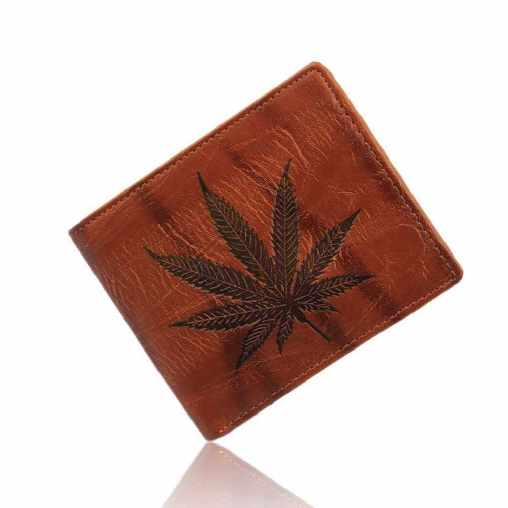 Ultra Thin Casual Male Change Purse Bifold Leafs Men's Wallet PU Leather Coffee Money Bags Card Holder #Y