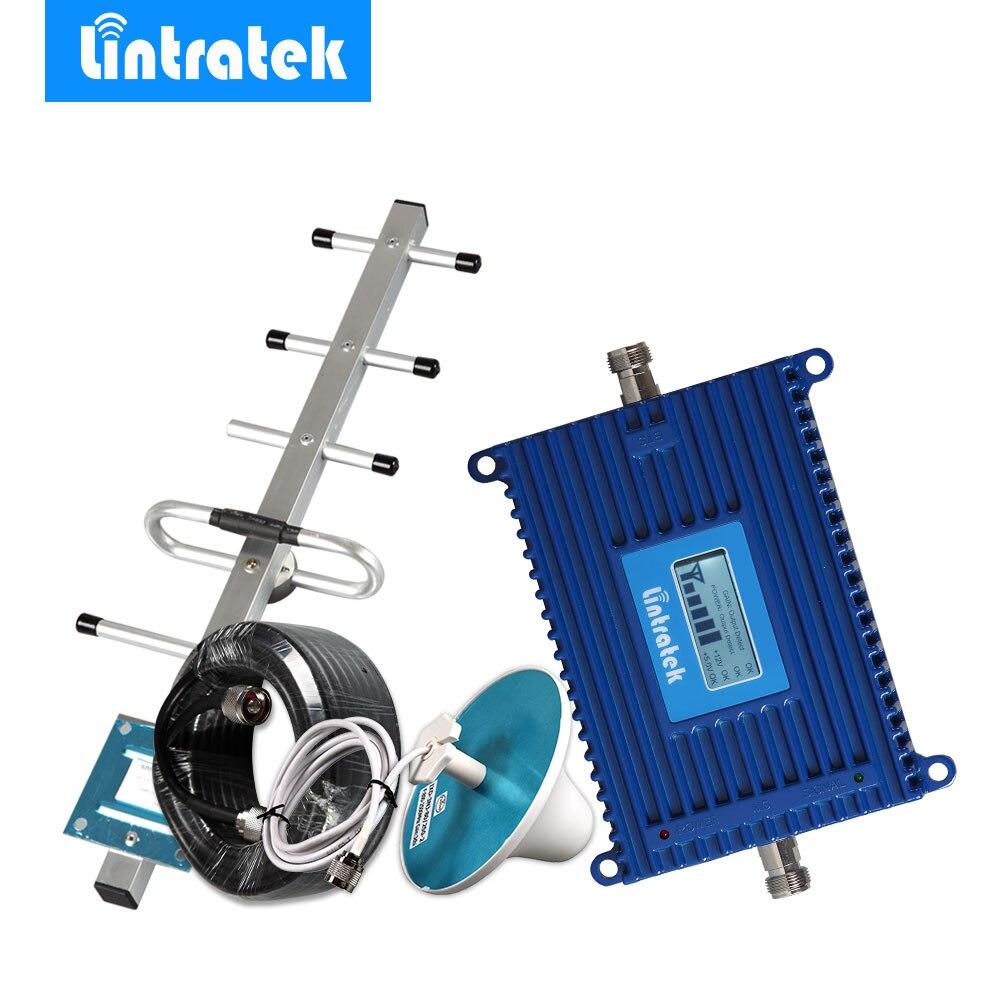 Lintratek ЖК-дисплей GSM 900 МГц Репитер мобильного телефона 70 дБ 900 МГц усилитель сигнала сотового телефона GSM антенна мобильный усилитель полный к...