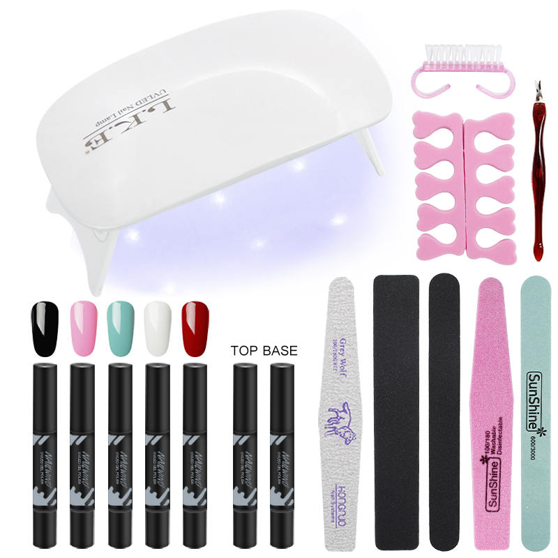 LKE Manicure set UV Gel Nail Art Kits LED Nail Dryer UV Gel Polish Pen Set For Nail Extension Varnish Lacquer Manicure Tools Kit(China)