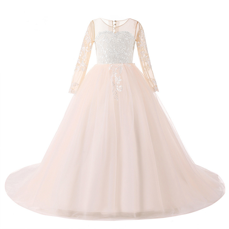 2017 New Pink Flower Girl Dress for Weddings Long Sleeves Ball Gown Puffy Tulle Lace First Communion Dresses Custom Made psp бу в спб
