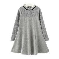 4 ila 14 yıl çocuklar ve genç kızlar dantel patchwork pamuk prenses flare elbise çocuk uzun kollu zarif sonbahar bahar elbise