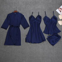 Sleep Lounge with Chest Pads Sleepwear Women Sexy Pajamas for Women Lace Pyjama Women Nightwear Elegant 4 Pieces Indoor Clothing