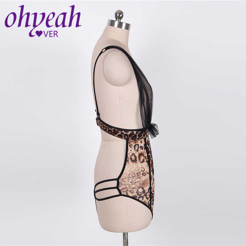Ohyeahlover боди костюм Женская одежда модный Scarpe Leopardate Roupa Feminina сексуальный RM80163 коричневый С Принтом Леопарда Тедди