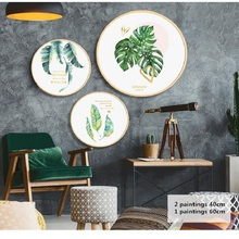 Nordic style solid wood round decorative painting simple modern living room paintings fresh and leisurely summer mural