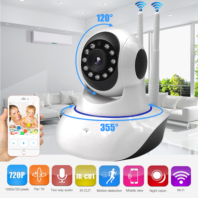Security Camera Wifi HD 720P Wireless IP Camera P2P Two Antenna Pan/Tilt for Nanny Baby Monitor with IR Night Vision 2 Way Audio