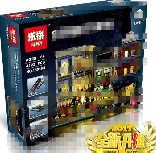 Лепин 15019 4002 шт. сборки квадратный создатель город серии Модель Набор строительных кубиков legoings игрушечные лошадки клон 10255 здания Конструк