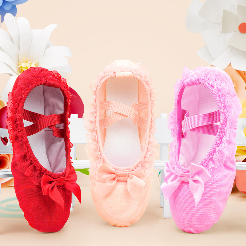 Girls Soft Canvas Ballet Slippers Lace Ballet Dance Shoes Pink For Kids