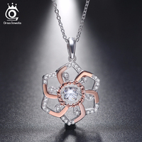 925 Sterling Silver Flower Pendant Necklaces With 0 3 Ct Shiny CZ Diamond Rose Gold Plated