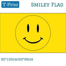 Free shipping 90*150cm 60*90cm Happy Face Smiley Yellow Flag 3x5ft For Office Home Children
