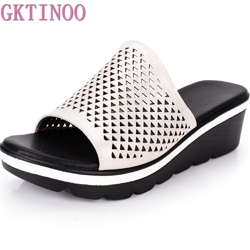 GKTINOO 2018 Summer women slippers genuine leather Open Toe middle heel shoes Women Wedges Slippers hollow slides sandals